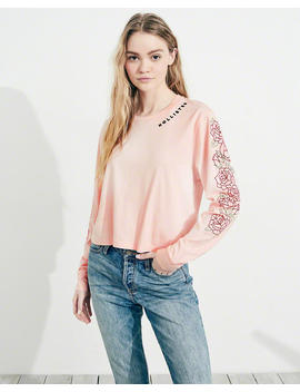 Rose Embroidered Graphic Tee by Hollister