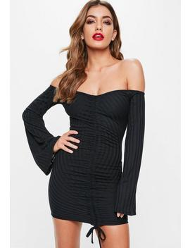 Black Ruched Front Ribbed Bardot Dress by Missguided