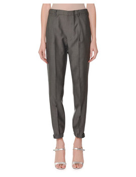 Tapered Leg Grip Strap Ankle Wool Mohair Pants by Prada