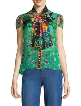 Jeannie Bow Collar Floral Blouse by Alice + Olivia