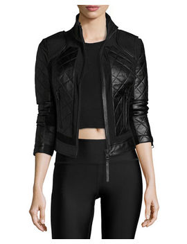 Quilted Leather & Mesh Moto Jacket by Blanc Noir