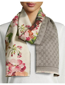 Miniorophin Floral & Logo Wool Scarf, White/Pink by Gucci