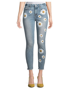 High Rise Ankle Skinny Jeans W/ Daisy Floral Print & Raw Hem by 7 For All Mankind