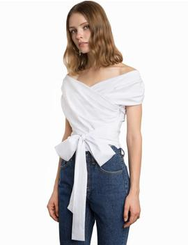 White Wrap Off The Shoulder Shirt  15% Off by Pixie Market