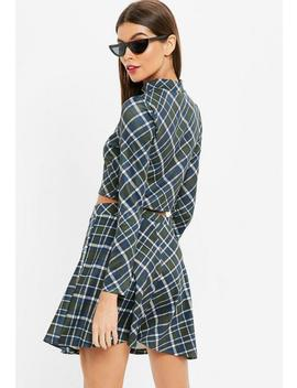 Green Checked Turtle Neck Long Sleeve Crop Top by Missguided