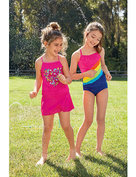 Little Girls Smart Swim Tankini Top by Lands' End