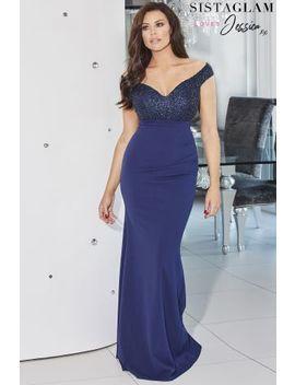 Sistaglam Loves Jessica Off Shoulder Embellished Maxi Dress by Next
