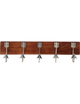 Brown Five Arrow Hook Wall Plaque 60x15cm by