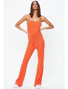 Orange Drawstring Waist Flare Leg Jumpsuit by Missguided