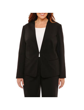 Liz Claiborne Long Sleeve Collarless Suiting Jacket  Plus by Liz Claiborne