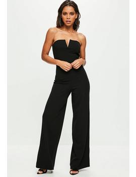 Tall Black V Bar Bandeau Wide Leg Jumpsuit by Missguided