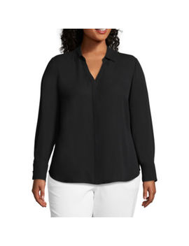 Worthington Long Sleeve Woven Blouse   Plus by Worthington