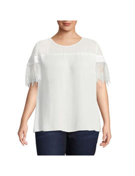 Worthington Short Lace Sleeve Blouse   Plus by Worthington
