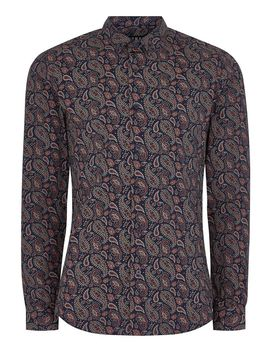 Paisley Print Muscle Fit Long Sleeve Shirt by Topman