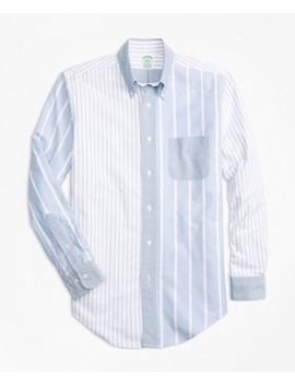 Milano Fit Oxford Fun Stripe Sport Shirt by Brooks Brothers