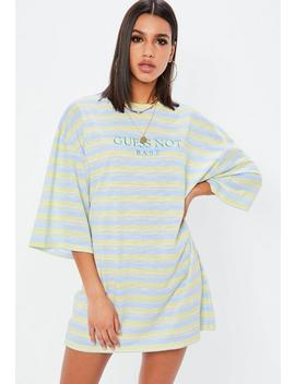 Yellow Guess Not Babe Slogan T Shirt Dress by Missguided