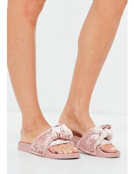 Pink Knotted Velvet Sliders by Missguided