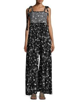 Shirred Tie Strap Wide Leg Jumpsuit by Free People