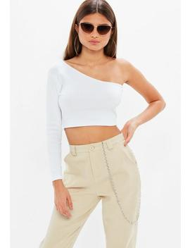 Petite White One Sleeve Asymmetric Crop Top by Missguided
