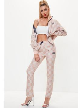 Umbro X Missguided Pink Checked Track Pant Joggers by Missguided