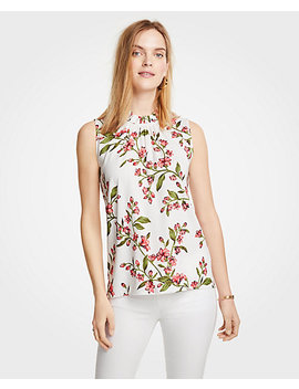 Floral Corded Ruffle Neck Shell by Ann Taylor