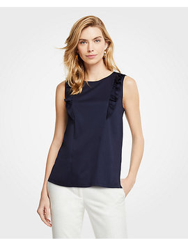 Refined Cotton Ruffle Shell by Ann Taylor