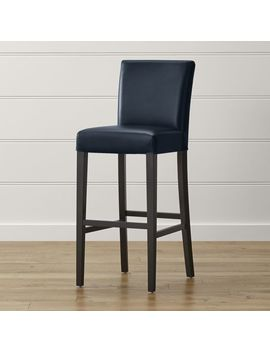 Lowe Navy Leather Bar Stool by Crate&Barrel