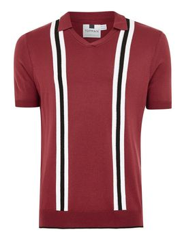 Red Revere Stripe Short Sleeve Knitted Polo by Topman