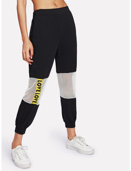 Contrast Fishnet Letter Tape Sweatpants by Sheinside