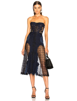 Grommet Lariat Lace Bustier Midi Dress by Jonathan Simkhai