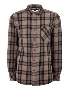 Stone And Navy Checked Long Sleeve Shirt by Topman