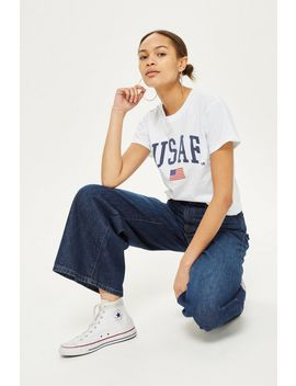 'usaf' Cropped T Shirt By Tee &Amp; Cake by Topshop