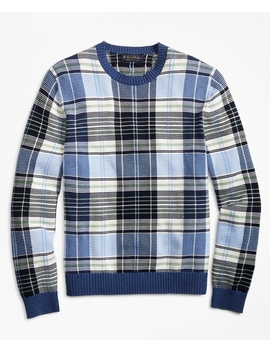 Supima® Cotton Plaid Crewneck Sweater by Brooks Brothers