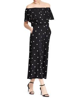 Polka Dot Jersey Jumpsuit by Lauren Ralph Lauren
