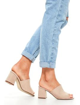 Blush Faux Suede Mid Flared Heel Peep Toe Mules by Missguided