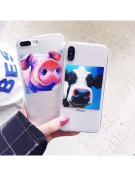 Funny Cartoon Oil Painting Tpu Soft Case Cover Phone For Iphone 6/7/8/X Plus by Unbranded/Generic