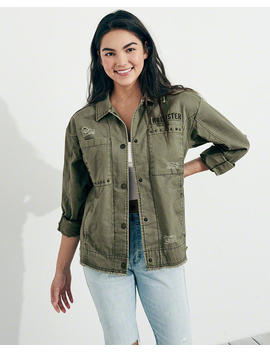 Boyfriend Military Shirt Jacket by Hollister