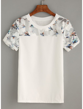 Bird Print Mesh Insert Top by Sheinside