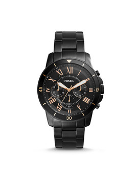 Grant Sport Chronograph Black Stainless Steel Watch by Fossil