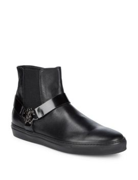 Leather High Top Sneakers by Roberto Cavalli