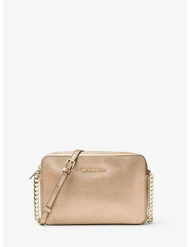 Jet Set Travel Large Metallic Leather Crossbody by Michael Michael Kors