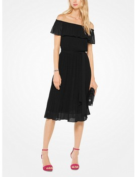 Pleated Chiffon Off The Shoulder Dress by Michael Michael Kors