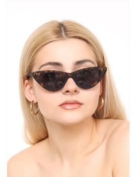 Matte Tortoiseshell Thin Cat Eye Slim Sunglasses Uv400 by Vintage Inclined