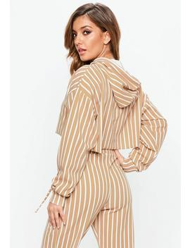 Camel Striped Cropped Hoodie by Missguided