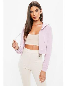 Lilac Zip Front Cropped Hoodie by Missguided