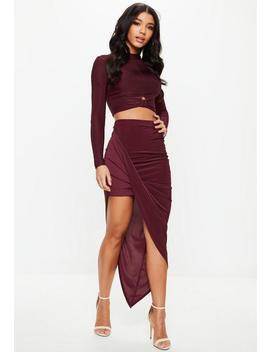 Burgundy Disco Slinky Asymmetric Midi Skirt by Missguided
