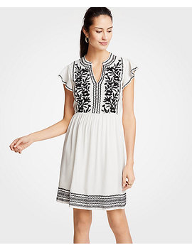 Petite Embroidered Ruffle Sleeve Shift Dress by Ann Taylor