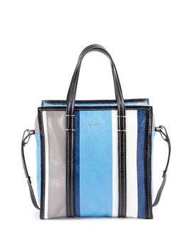 Bazar Shopper Small Striped Leather Tote Bag by Balenciaga