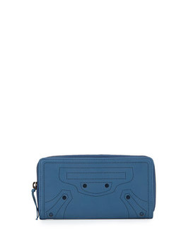 Perforated Calf Leather Wallet, Blue by Balenciaga