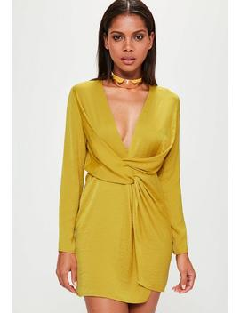 Yellow Satin Wrap Dress by Missguided